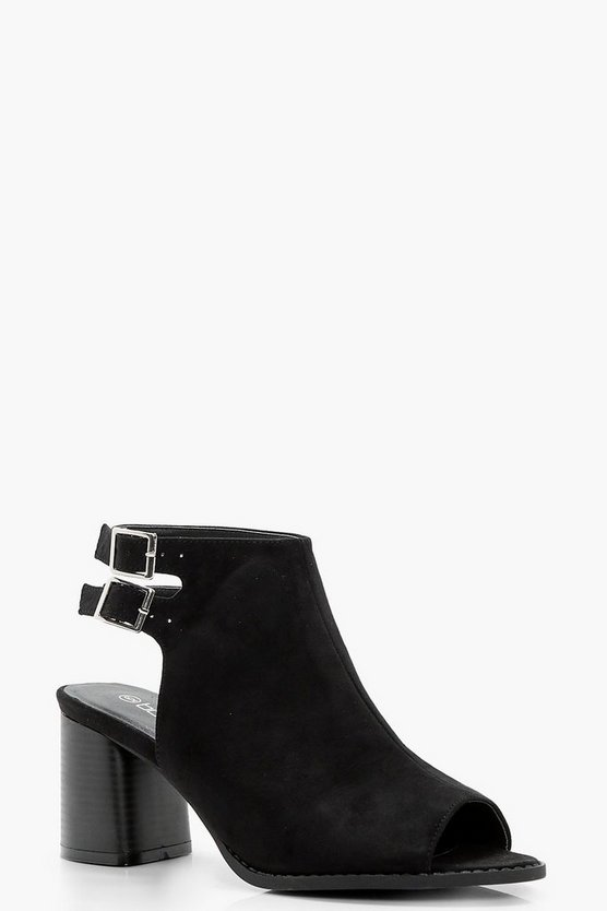 Double Buckle Peeptoe Shoe Boots