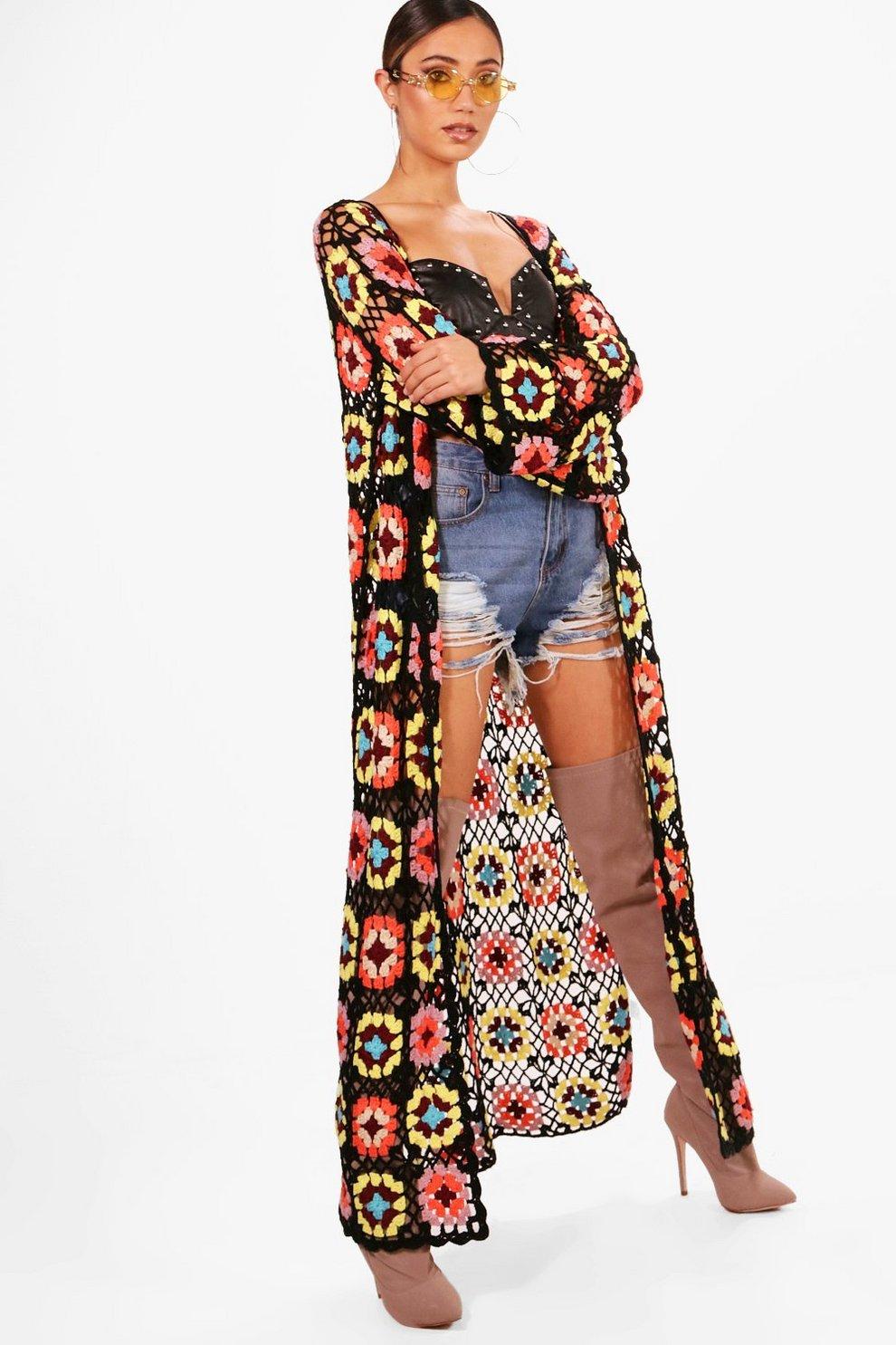 Millie Premium Crochet Maxi Cardigan | Boohoo