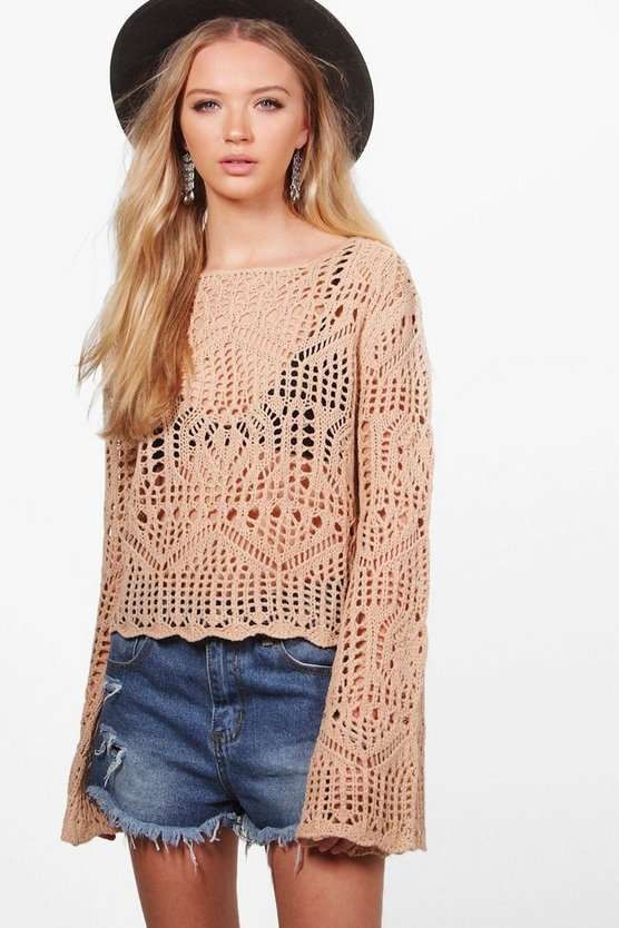 Francesca Crochet Bell Sleeve Jumper