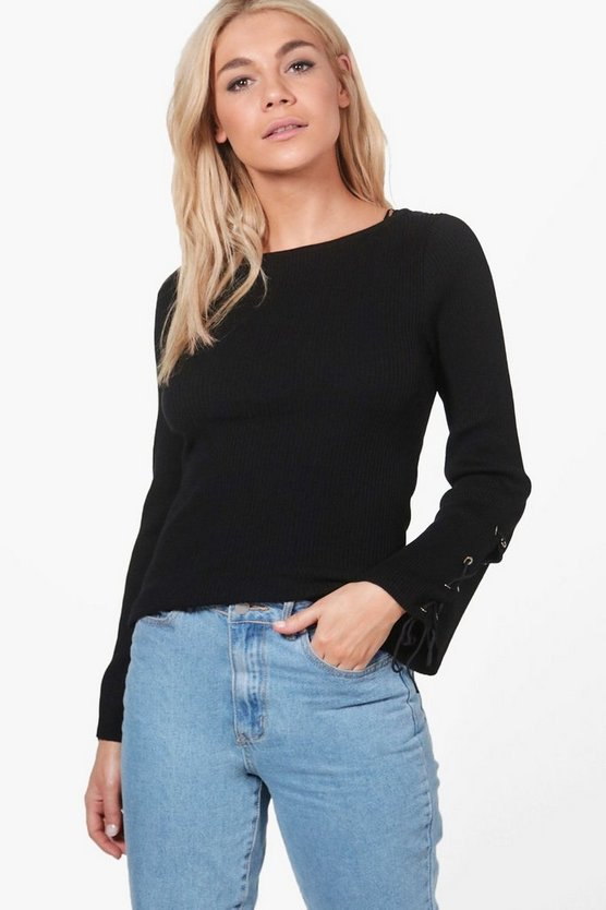 Alice Lace Up Sleeve Rib Knit Jumper