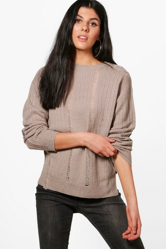 Hannah Distressed Laddered Rib Knit Jumper