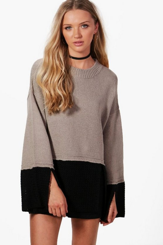 Erin Contrast Knit Split Sleeve Jumper