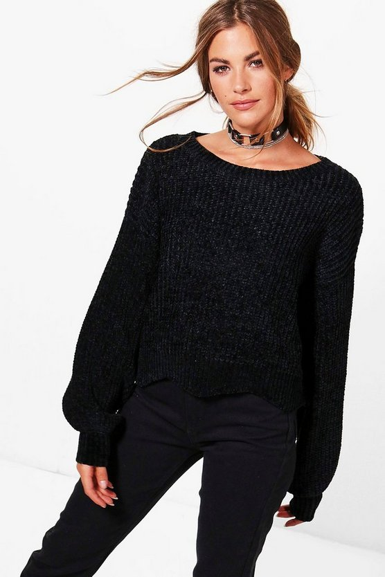 Holly Oversized Scallop Hem Chenille Jumper