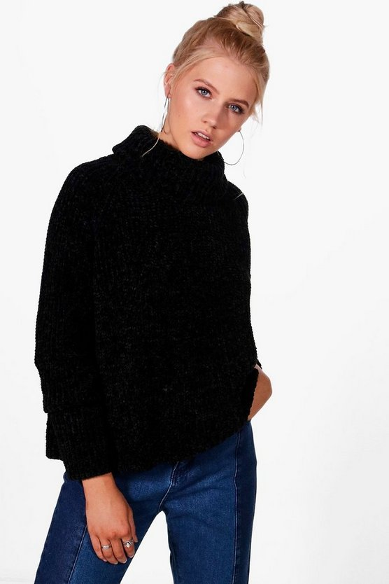 Chenille Funnel Neck Jumper