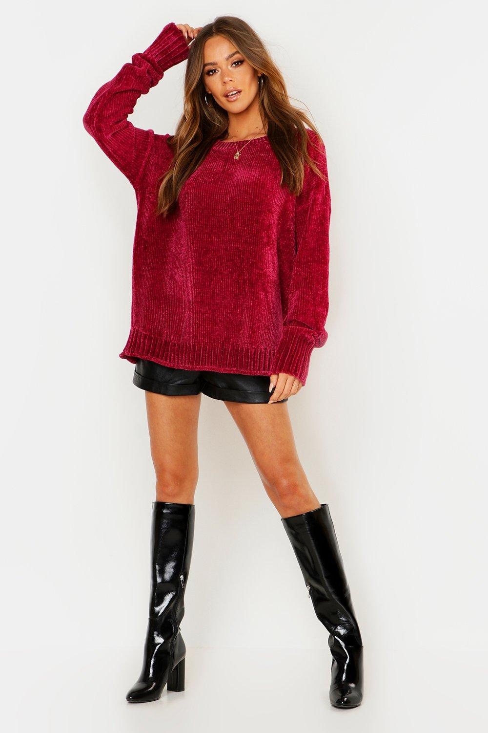 Womens Pullover in Chenille-Optik - berry - s/m, Berry - Boohoo.com