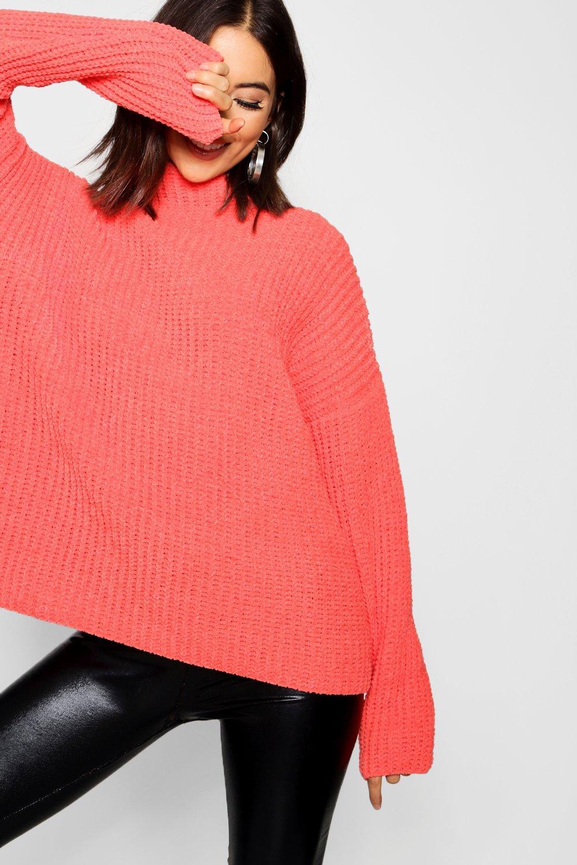 Womens Chenille-Strickpullover mit Trichterkragen - Dunkles Orange - S/M, Dunkles Orange - Boohoo.com