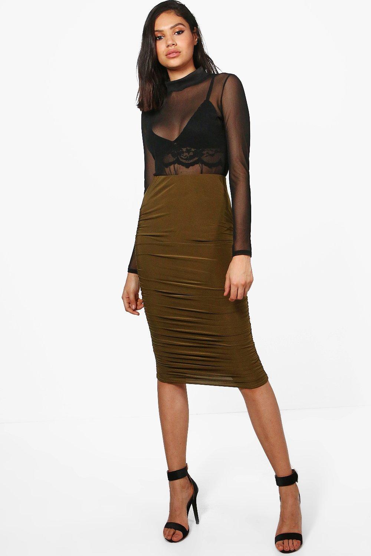 Rouched Side Slinky Midi Skirt  khaki