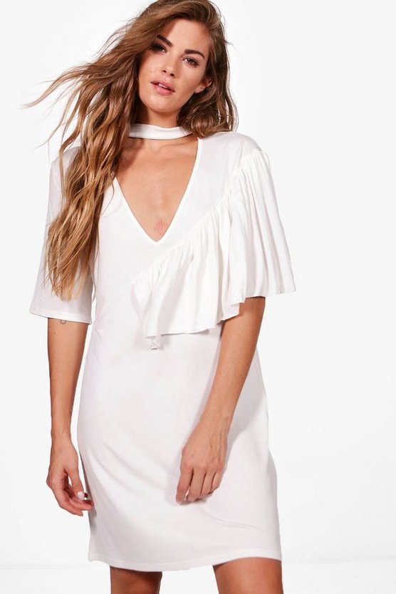 Naomi Deep V Frill Choker Shift Dress