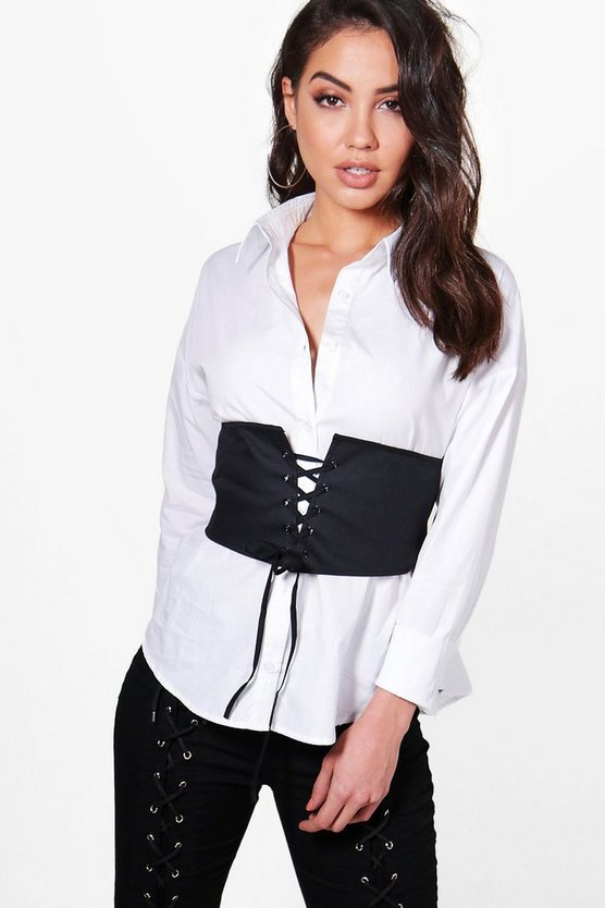 Erica Detachable Lace Up Corset Shirt
