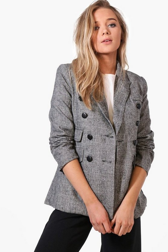 Sarah Premium Check Tailored Blazer