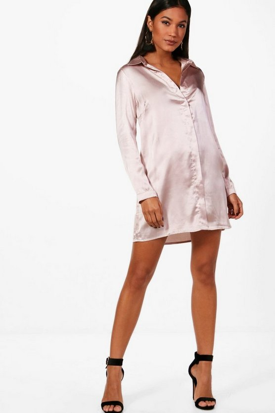 Isabel Woven Satin Shift Dress