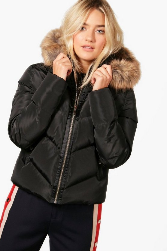 Alice Boutique Crop Faux Fur Hooded Padded Jacket
