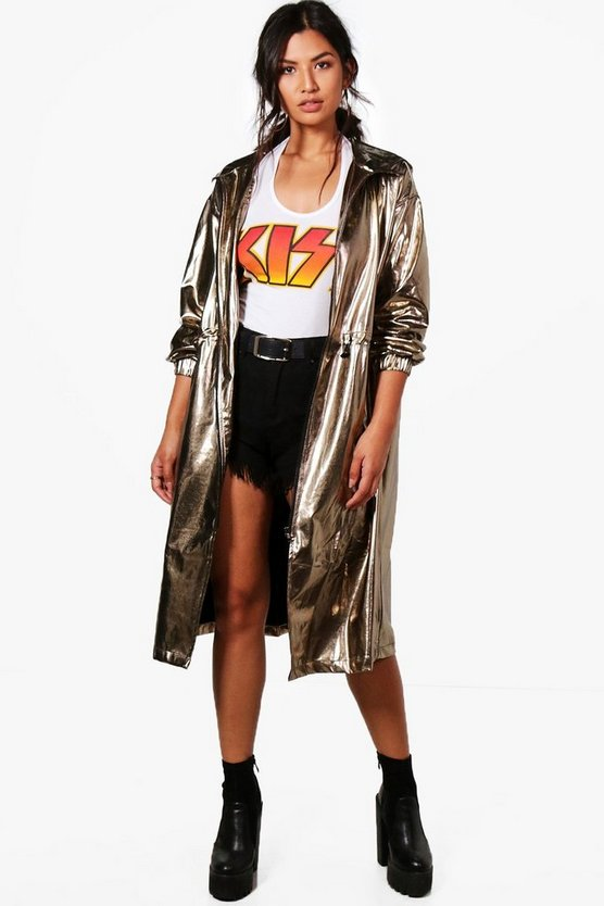 Hayley Metallic Hooded Maxi Rain Mac