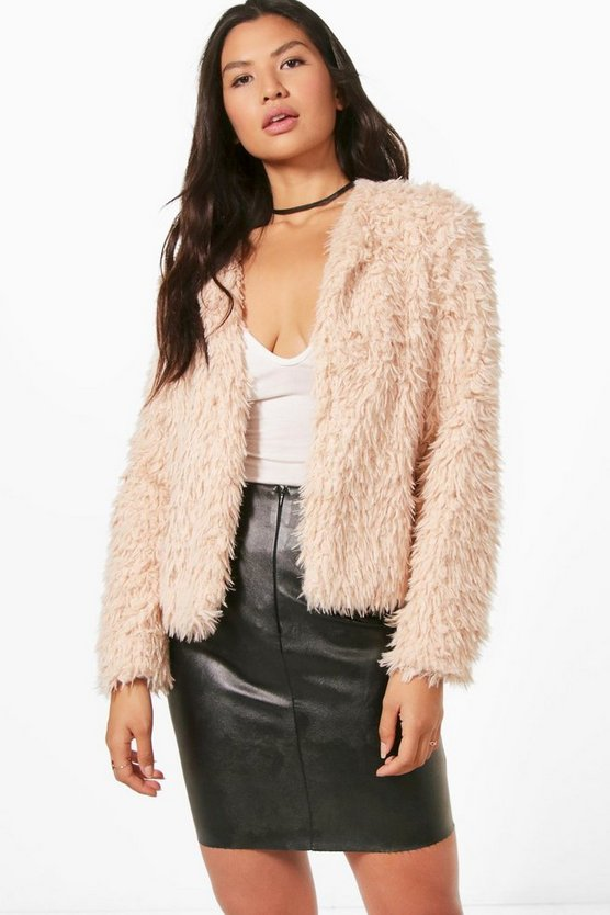 Hannah Cropped Shaggy Faux Fur Coat
