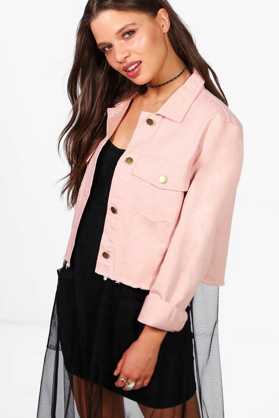 Sofia Distressed Hem Utility Jacket