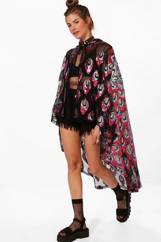 Heather Boutique Sequin Hooded Cape