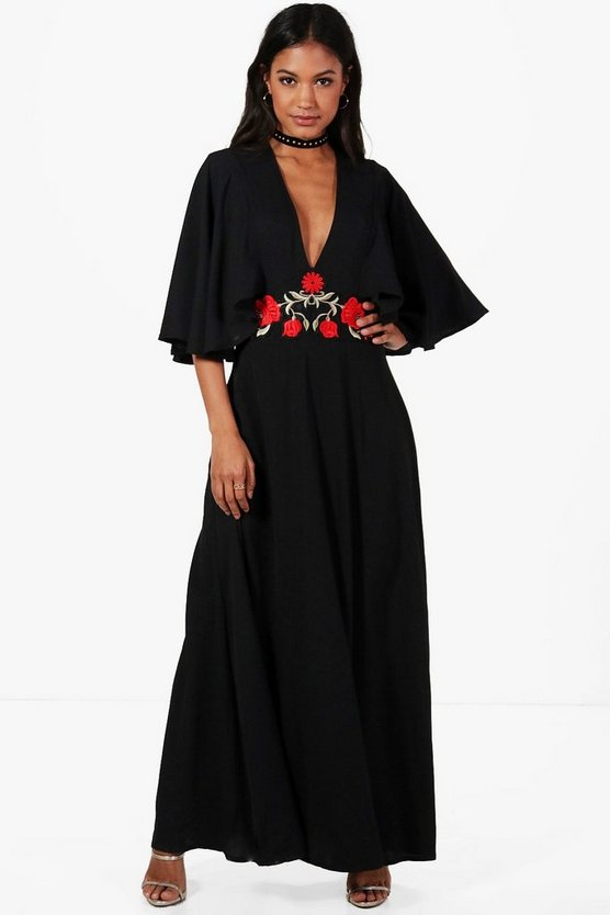 Anna Boutique Angel Sleeve Embroidered Waist Maxi Dress