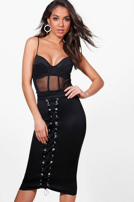 Lyra Lace Up Front Midi Skirt