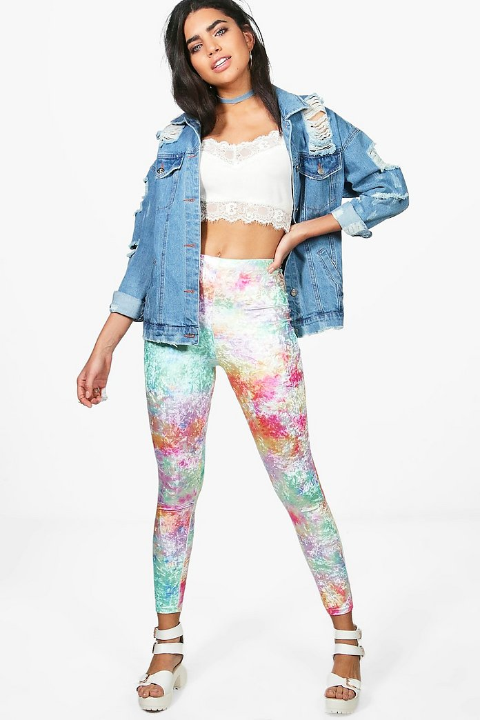 Khia Crushed Velvet Tie Dye Leggings