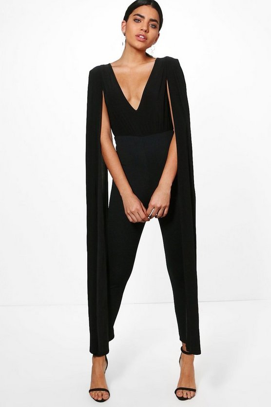 Cape Sleeve Plunge Neck Jumpsuit