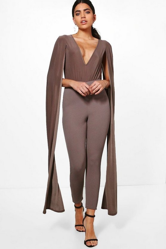 Kellie Cape Sleeve Plunge Neck Jumpsuit