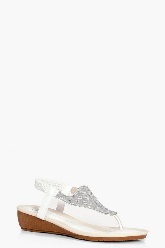 Ella Diamante Toe Part Wedge
