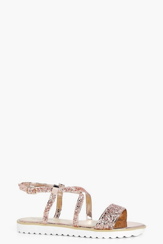 Cross Strap Embellished Cleated Sandal