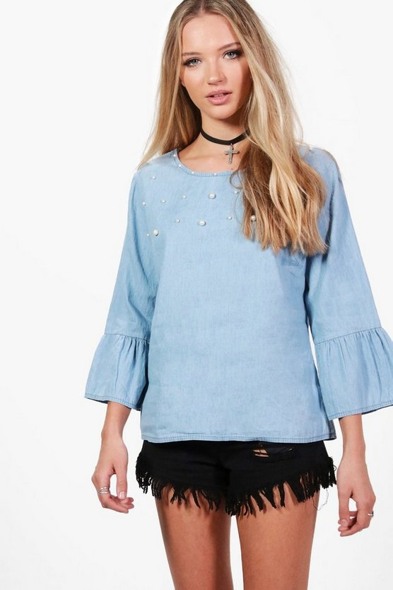 Pearl Embellished Denim Shirt