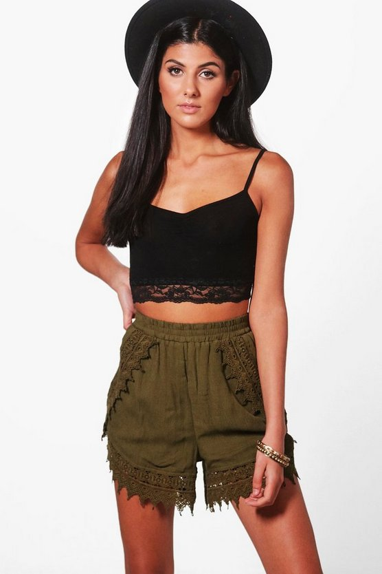 Sally Crochet Trim Flippy Shorts