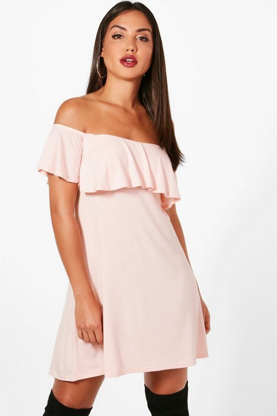 Frill Detail Off The Shoulder Swing Dress