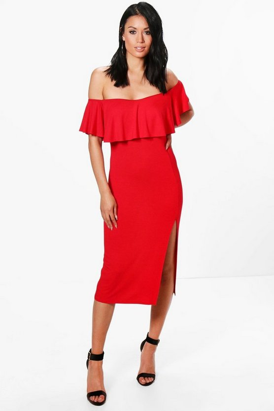 Josie Frill Detail Off The Shoulder Midi Dress