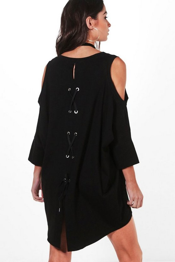 Izzy Lace Up Back Oversized T-Shirt Dress