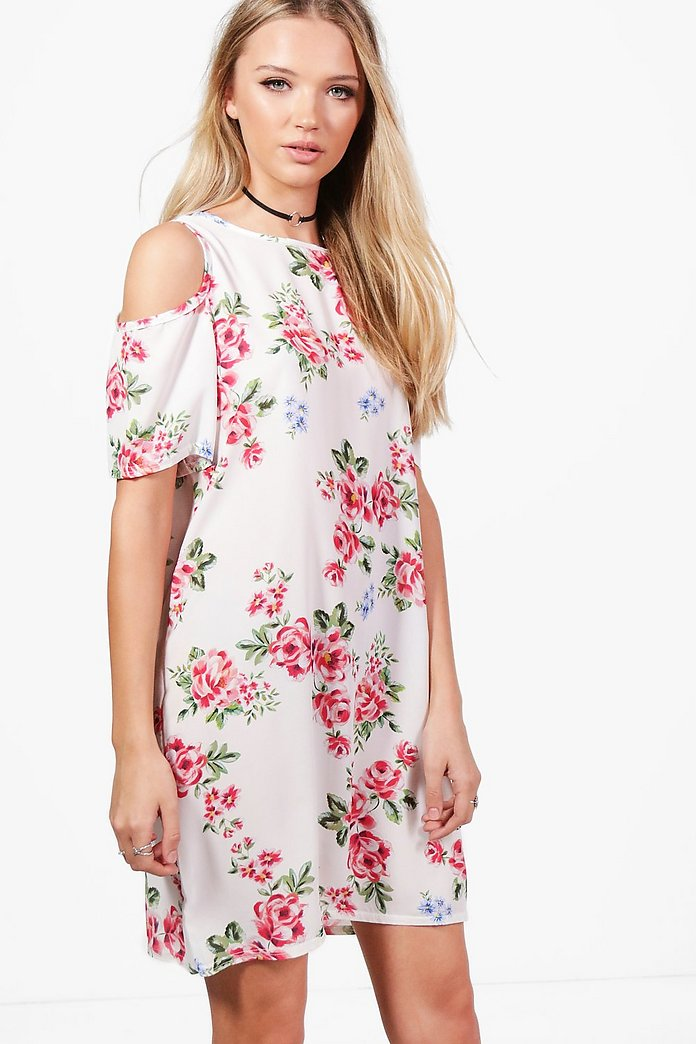 Beth Floral Rose Cold Shoulder Shift Dress