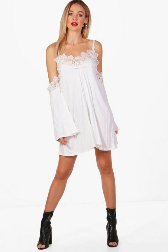 Katy Lace Trim Cold Shoulder Swing Dress
