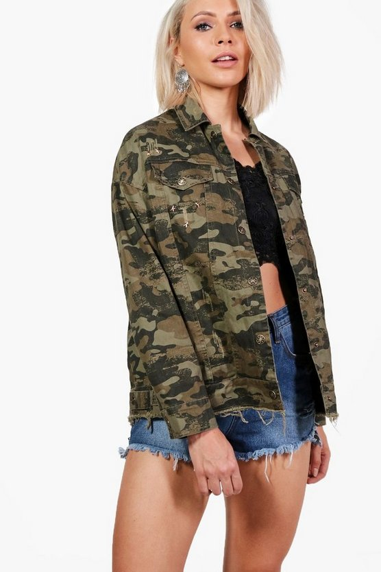 Ripley Fray Hem Camo Denim Jacket