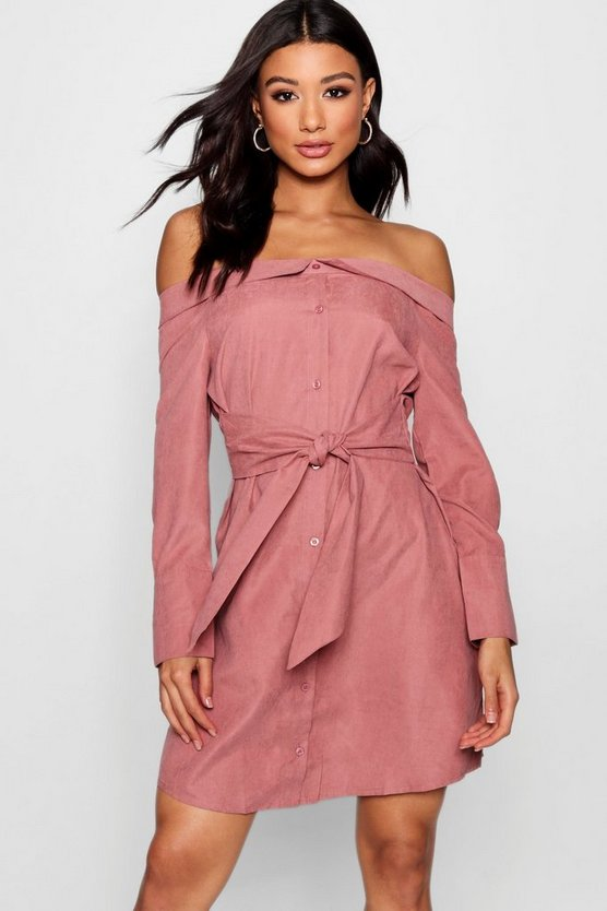 Evie Off The Shoulder Tie Front Shirt Dress