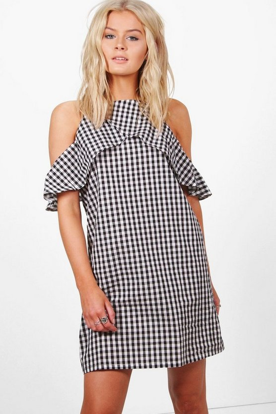 Amelia Cold Shoulder Gingham Shift Dress