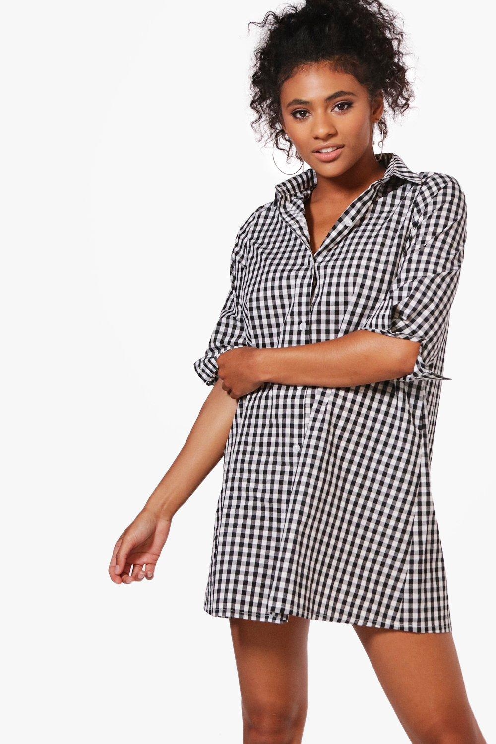 Image result for boohoo lilly gingham shirt dress