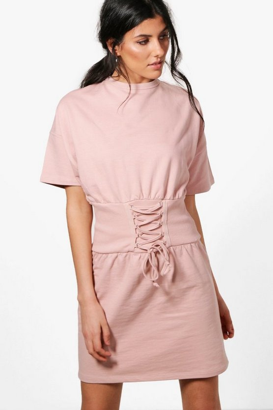 Charlotte Corset Detail Short Sleeve Sweat Dress
