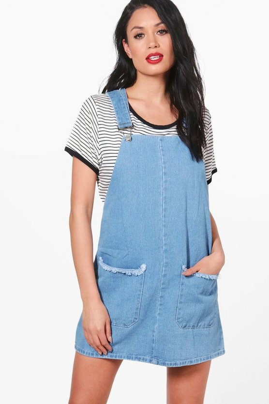 Lisa Frayed Pocket Denim Pinafore Dress