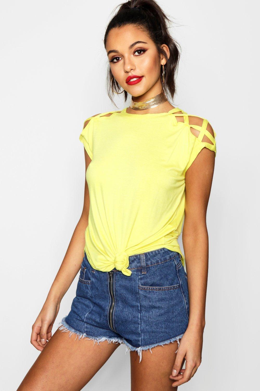 Boohoo-Megan-T-shirt-A-Bretelles-Aux-Epaules-pour-Femme