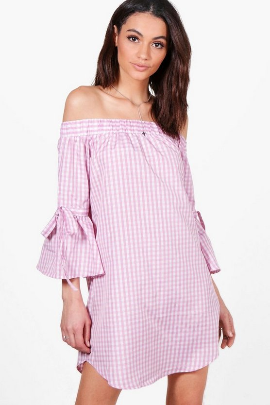 Charlotte Off The Shoulder Gingham Dress