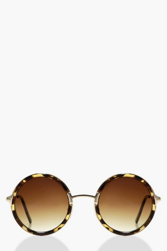 Eva Faded Lense Minimal Round Sunglasses
