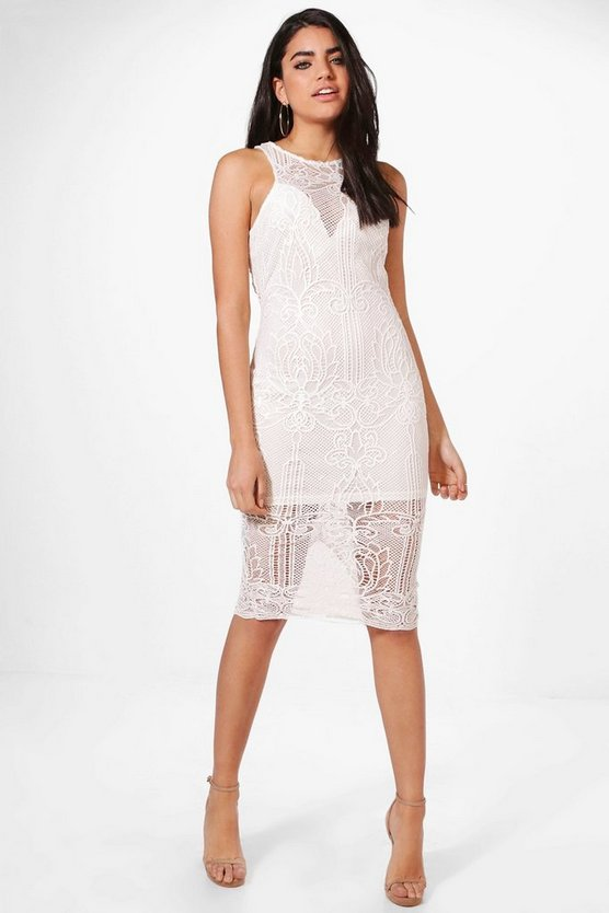 Boutique Anna Print Lace Midi Dress