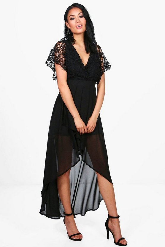 Boutique Sarah Lace Top Chiffon Maxi Dress
