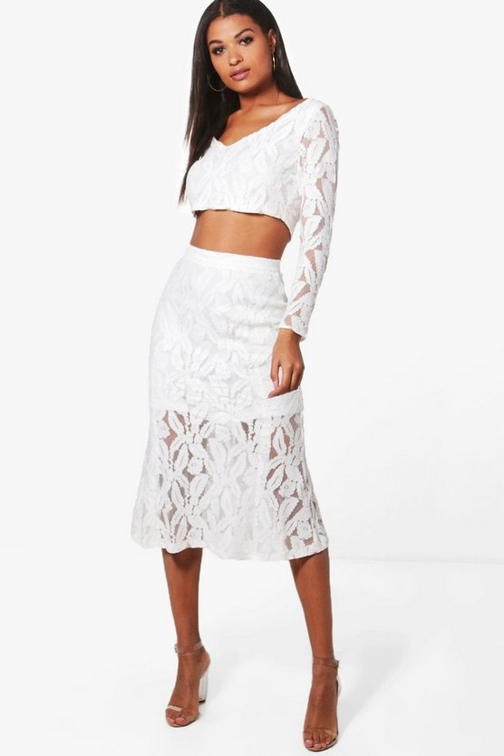 Boutique Lea Lace Crop & Fishtail Co-ord