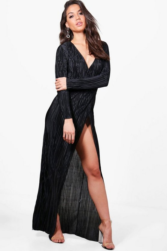 Vicky Pleated Long Sleeve Wrap Maxi Dress