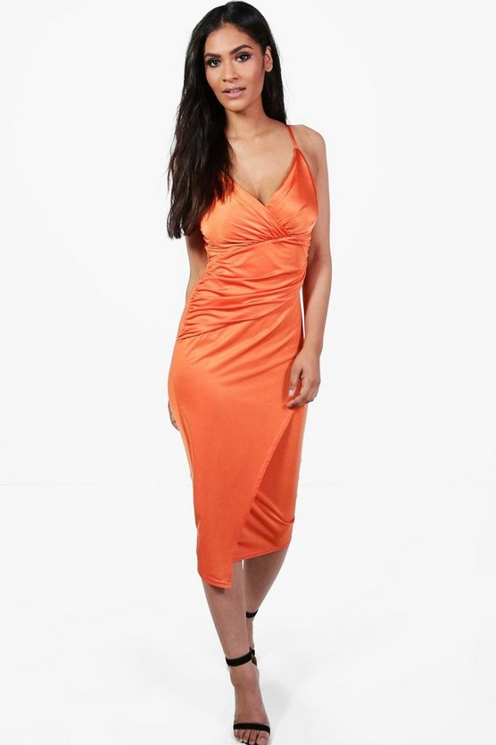 Slinky Strappy Wrap Detail Midi Dress