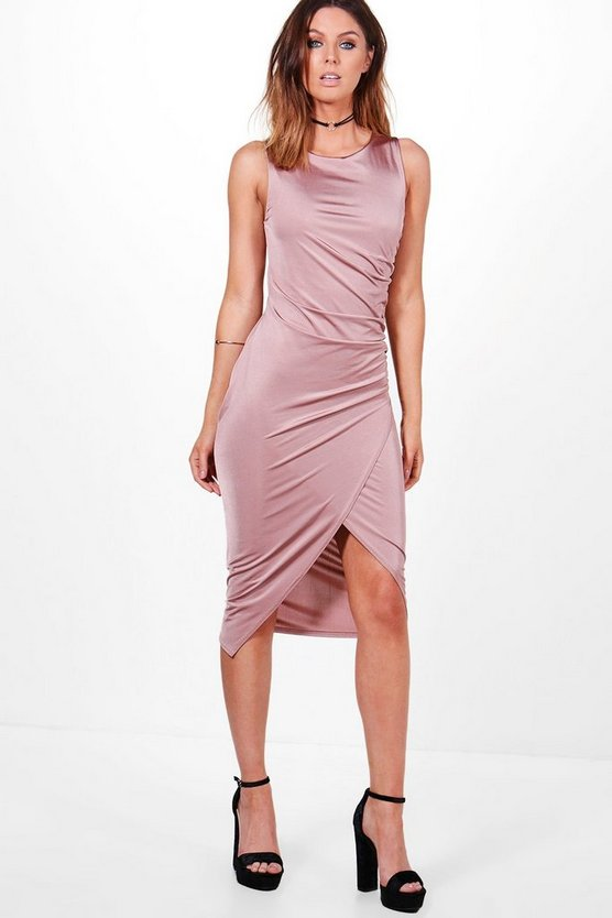 Addie Slinky Ruched Detail Midi Dress