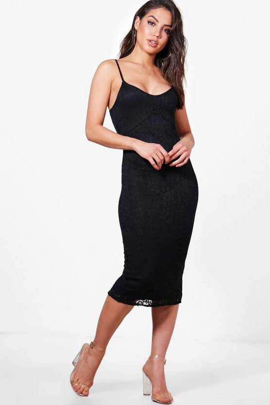 Jayne Lace Strappy Midi Dress